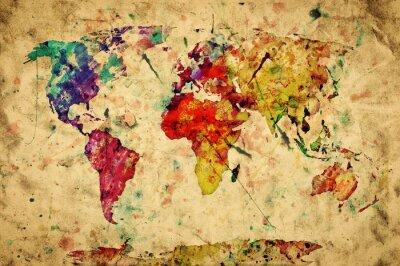 Nálepka Vintage mapa světa. Barevný nátěr, akvarel na papíře grunge