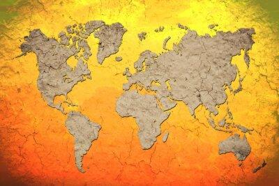 Nálepka vintage mapa světa s červeným pozadím