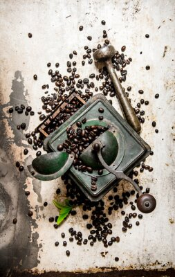 Nálepka Vintage mlýnek na kávu s paličkou