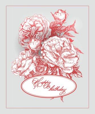 Nálepka Vintage narozeniny karta s kvetoucí růže a motýly. (Používá se pro palubní vstupenku, blahopřání k narozeninám, pozvánek, děkuji kartu.) Vektorové ilustrace.