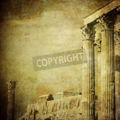 Nálepka Vintage obrázek řeckých sloupů, Akropolis, Atény, Řecko