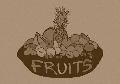 Nálepka Vintage ovoce košík