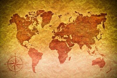 Nálepka vintage papír s mapou světa