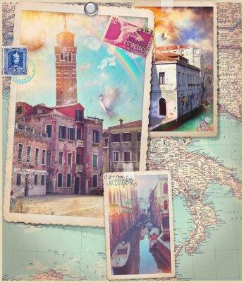 Nálepka Vintage pohlednice a koláže z Benátky City