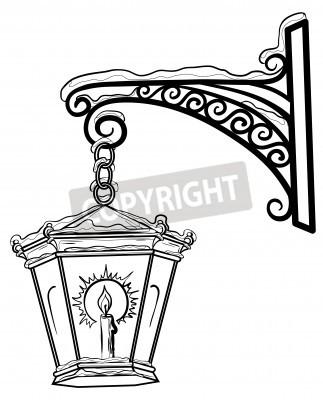 Nálepka Vintage pouliční lampa svítící ve sněhu, visí na dekorativní držák. Contours.