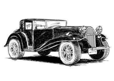 Nálepka Vintage Retro Classic staré auto vektorové ilustrace