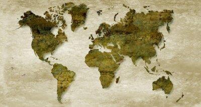 Nálepka Vintage sépie mapa světa na pozadí