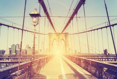 Nálepka Vintage stylizovaný obraz Brooklynský most, NY.