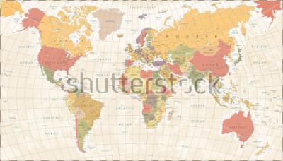 Nálepka Vintage World Map - Detailed Vector Illustration