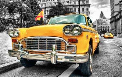 Nálepka Vintage Yellow Cab in Lower Manhattan - New York City