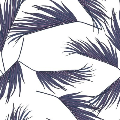 Nálepka Violet coconut palm leaves by hand drawing and sketch with line-art seamless pattern on white  backgrounds.