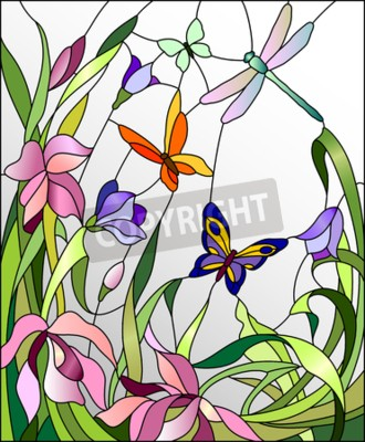 Nálepka Vitráže okno s květinami a motýly