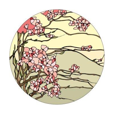 Nálepka Vitráže okno s sakura