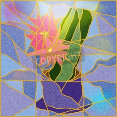 Nálepka Vitráže okno zobrazující květ ilustrace