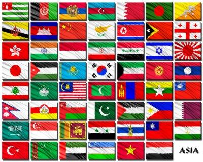 Nálepka Vlajky asijských zemí v abecedním pořadí