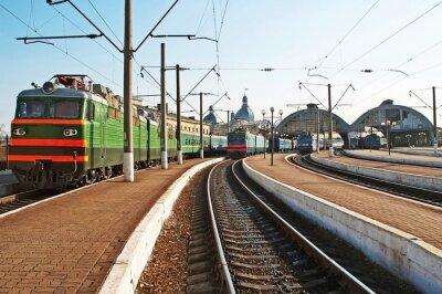 Nálepka Vlaky na železniční stanici