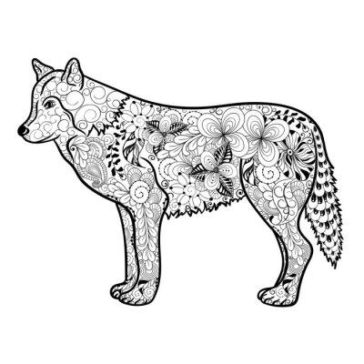 Nálepka vlk doodle