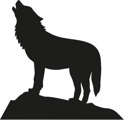 Nálepka Vlk stojí a vytí