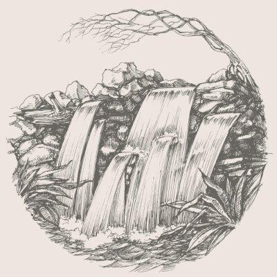 Nálepka Vodopád kolo výkres