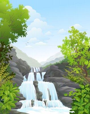 Nálepka Vodopád v tropických deštných lesů