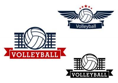 Nálepka Volejbal emblémy s herními předměty