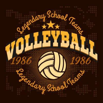 Nálepka Volejbal mistrovství logo s míčem - vektorové ilustrace.