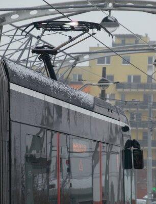 Nálepka Výboje na tramvaj na vozíku s ledem
