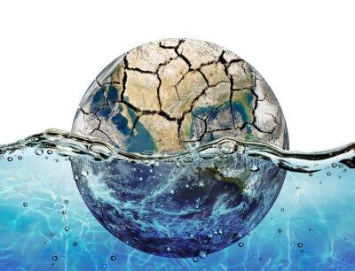Nálepka Vyschla planeta ponoří do vody světového oceánu
