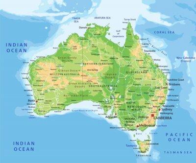 Nálepka Vysoce detailní fyzický Austrálie mapa s značení.