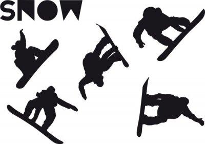 Nálepka Vytisknout Snowboarder jump sadu