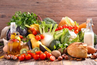 Nálepka vyvážená strava koncept občerstvení