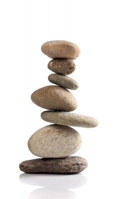 Nálepka Vyvážený hromada různých říčních kamenů