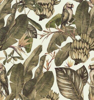 Nálepka Vzor bezešvé akvarel s ibišky, palmové listy, větev strelitzia, calathea.Tropic vinobraní pozadí