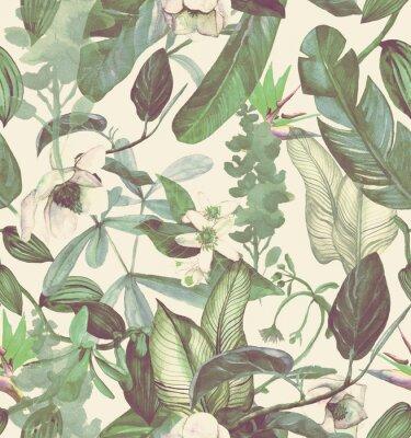 Nálepka Vzor bezešvé akvarel s tropickými květinami, magnólie, oranžový květ, vanilková orchidej, tropické listy, banánové listy