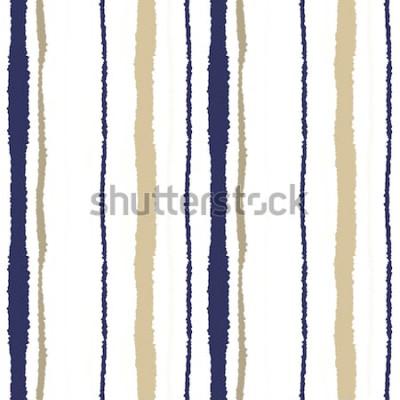 Nálepka Vzor bezešvé pruh. Svislé čáry s potrhaným papírem. Skartovat okraje textury. Olivové, šedé, krémové barvy na bílém pozadí. Zimní téma. Vektor