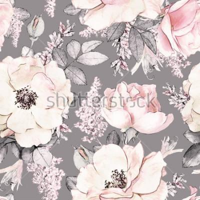 Nálepka Vzor bezešvé s růžovými květy a listy na pozadí, akvarel květinový vzorek, růžová v pastelových barvách, dlaždicovatelná pro tapety, karty nebo tkaniny