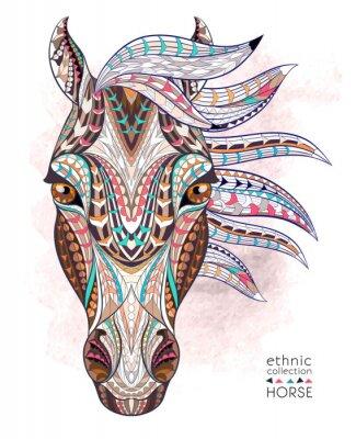 Nálepka Vzorované Hlava koně na pozadí grunge. Africká / Ind / totem / tetování design. To může být použit pro návrh trička, tašky, pohlednice, plakát a tak dále.
