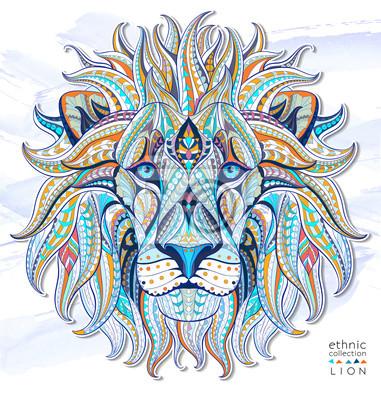 Nálepka Vzorované hlava lva na pozadí grunge. Africká / Ind / totem / tetování design. To může být použit pro návrh trička, tašky, pohlednice, plakát a tak dále.