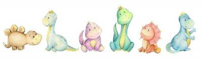 Nálepka watercolo,  little dinosaur. isolated set