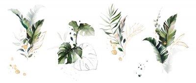 Nálepka  watercolor and gold leaves. herbal illustration. Botanic tropic composition.  Exotic modern design