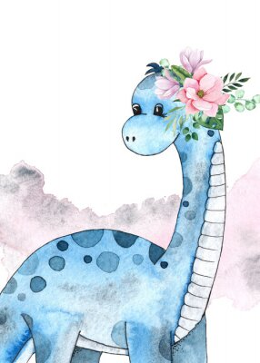 Nálepka Watercolor and graphic dinosaurs pre-made cards with Brachiosaurus, Stegosaurus on white background with watercolor shapes
