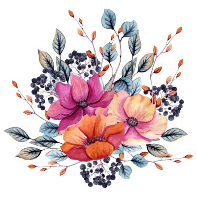 Nálepka Watercolor Autumn Floral Composition with Pink and Red Flowers