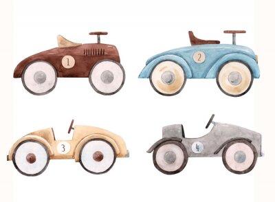 Nálepka Watercolor baby car illustration