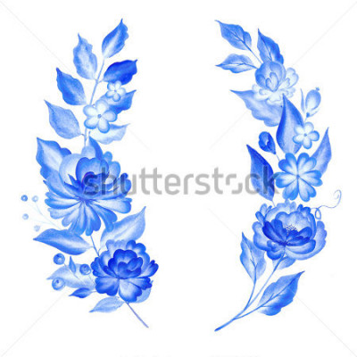 Nálepka Watercolor blue flowers  in gzhel style.Floral background.