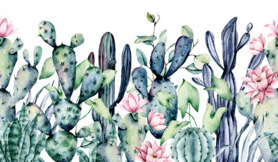 Nálepka Watercolor cacti, seamless border, hand drawn flower illustration. Perfect for floral design greeting card, blog, site, banner, wedding invitation. Isolated on white.  Cacti collection.