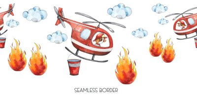 Nálepka Watercolor cartoon cute seamless border Firefighting and fire safety equipment illustration. Fire helicopter, dog, helmet, hose, column, fire extinguisher. Baby shower red colorful clip art