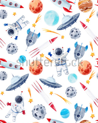 Nálepka Watercolor cutepattern  space illustrations , the man in the spacesuit of an astronaut, rocket, shooting star, flying saucer