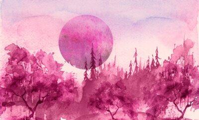 Nálepka Watercolor drawing, illustration. Forest landscape, fir, pine, tree, cedar, red, pink sun, sunset, sunrise. Splash paint, abstract illustration. Art painting. Winter landscape. Mystic forest