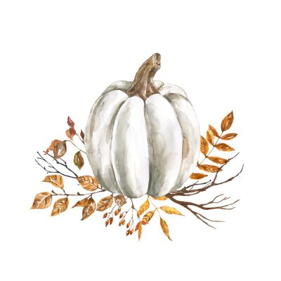 Nálepka Watercolor fall pumpkin arrangement, beautiful autumn decoration, isolated on white background. Watercolor white pumpkin with yellow and orange dry leaves and tree branches.