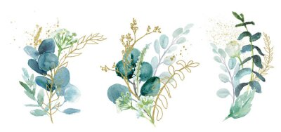 Nálepka Watercolor floral illustration set - green & gold leaf branches collection, for wedding stationary, greetings, wallpapers, fashion, background. Eucalyptus, olive, green leaves, etc.
